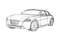 рисунки машины карандашом бмв