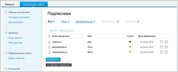 Управление настройками для подписчиков на вашу рассылку с сайта