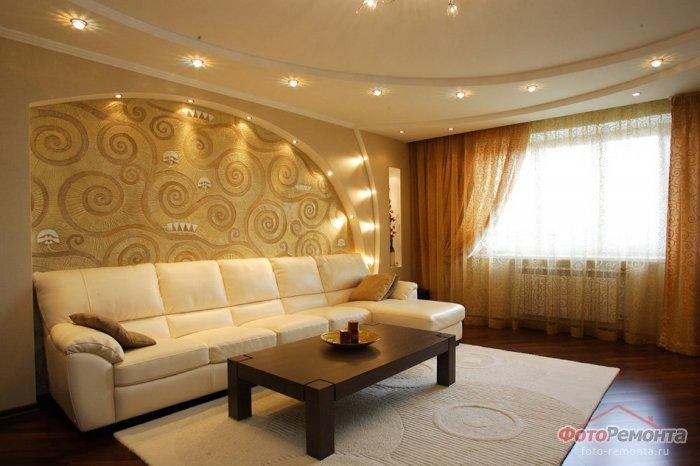 Дизайн стен и потолка в гостиной