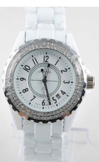 Chanel J12 Quartz Ladies Watch корпус со стразами белые